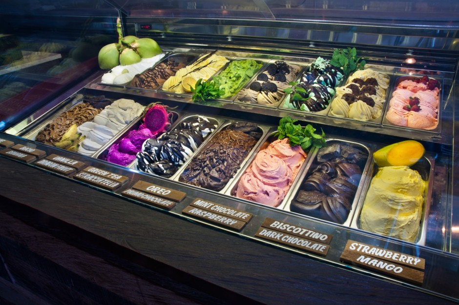 Gelato displayed in cabinet